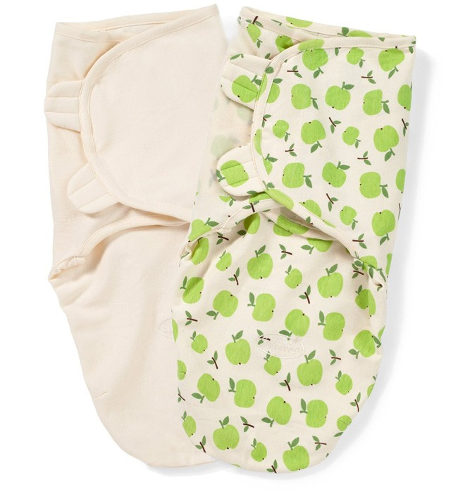 Конверт на липучке Summer Infant SwaddleMe Organic Apples, S-M, 2 шт.Summer Infant<br>Конверт на липучке Summer Infant SwaddleMe Organic Apples, S-M, 2 шт.<br>