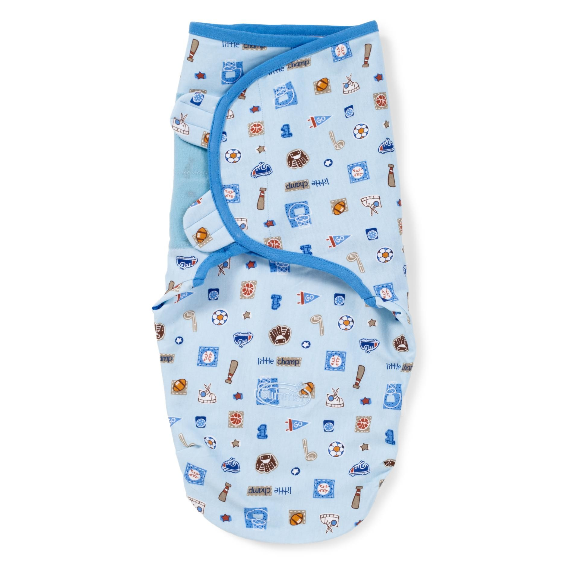 Конверт на липучке Summer Infant Swaddleme Little Champ, S-M, цвет: голубойSummer Infant<br>Конверт на липучке Summer Infant Swaddleme Little Champ, S-M, цвет: голубой<br>