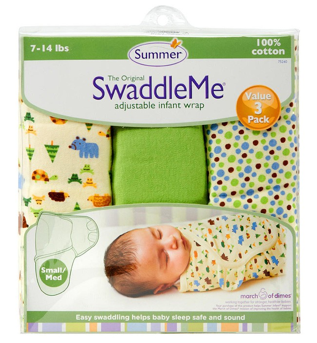 Конверт на липучке Summer Infant Swaddleme Nature Lover, S-M, 3 шт.Пеленание<br>Конверт на липучке Summer Infant Swaddleme Nature Lover, S-M, 3 шт.<br>