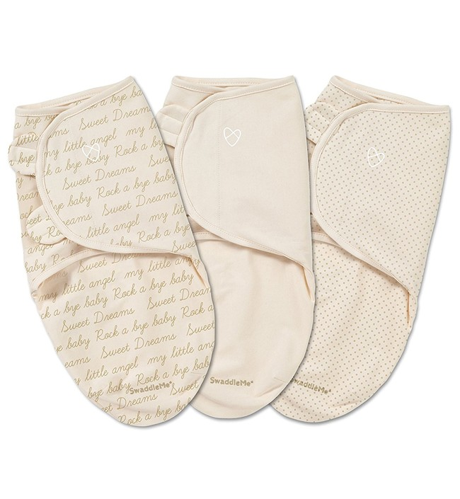 Конверт на липучке Summer Infant Swaddleme Ivory Cursive, S-M, 3 шт. - Детская комната