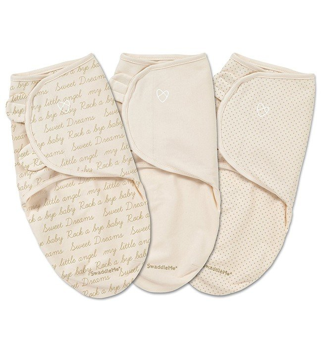 Конверт на липучке Summer Infant Swaddleme Ivory Cursive, S-M, 3 шт.