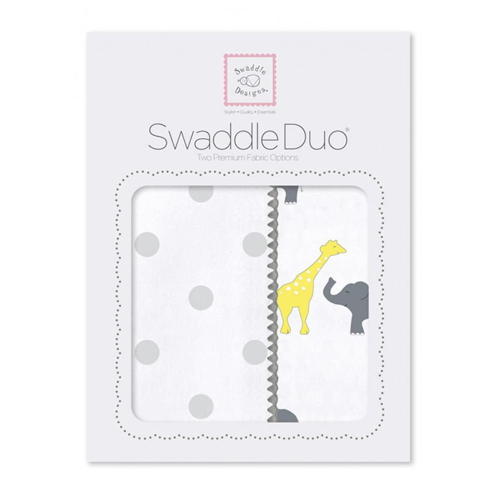 Набор пеленок SwaddleDesigns Swaddle Duo Circus Fun Sterling, серый