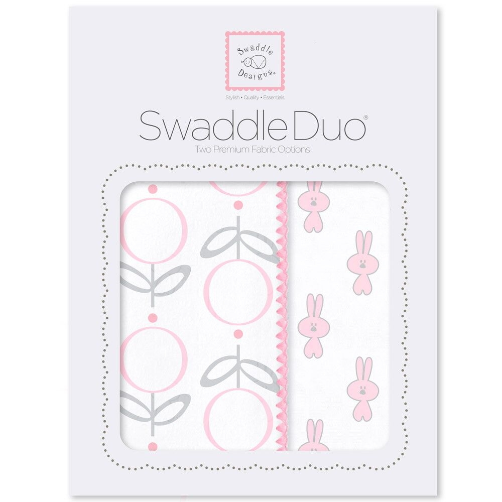 Набор пеленок SwaddleDesigns Swaddle Duo Pink Little Bunnie, розовый