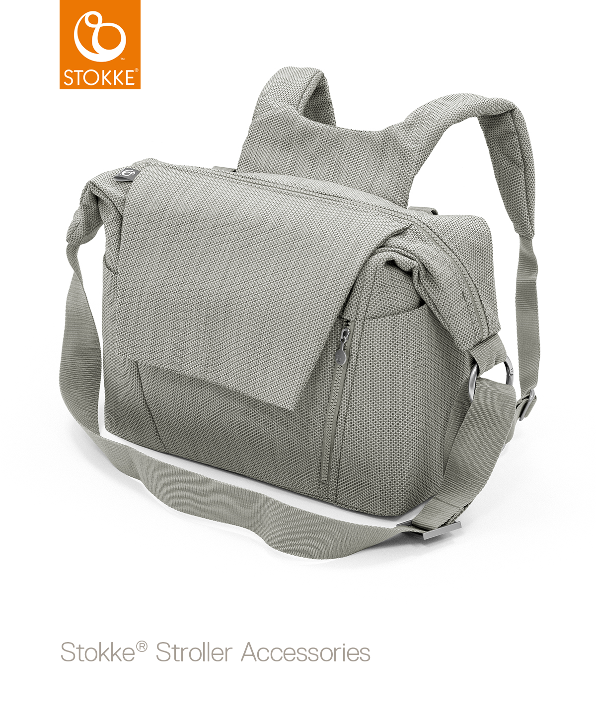 Сумка для коляски Stokke Changing Bag, Brushed Grey, серый твид