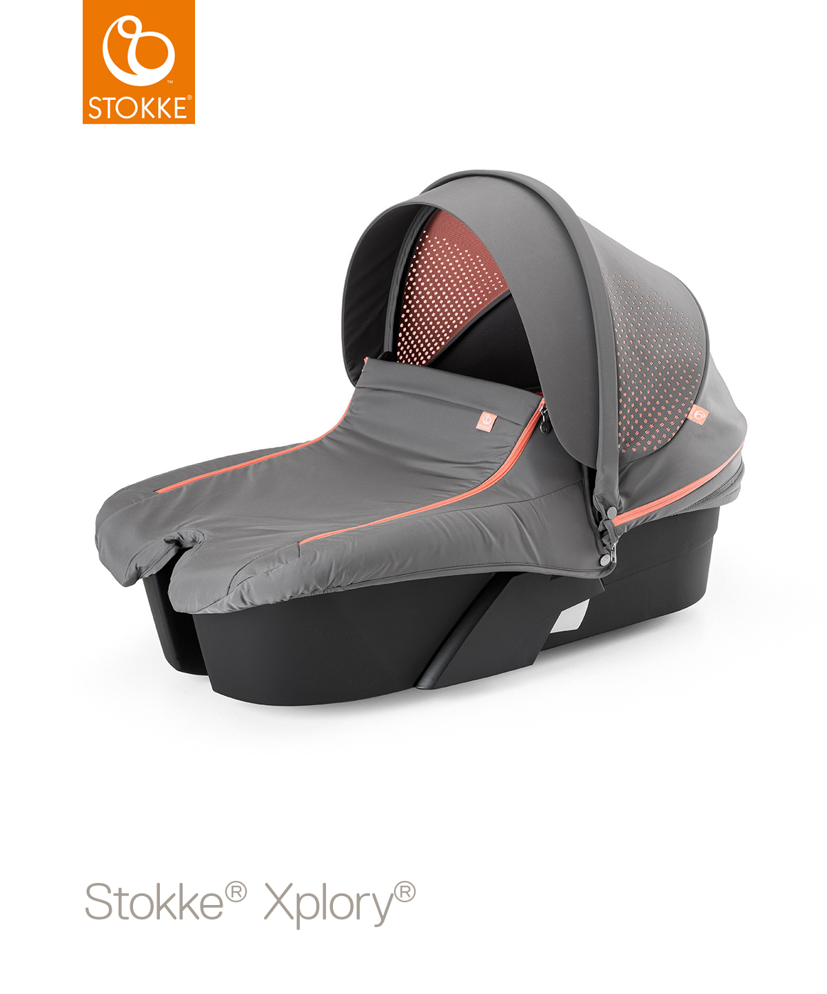 Люлька Stokke в коляску XPLORY Black Series Athleisure Coral, цвет: коралловыйStokke®<br>Люлька Stokke в коляску XPLORY Black Series Athleisure Coral, цвет: коралловый<br>