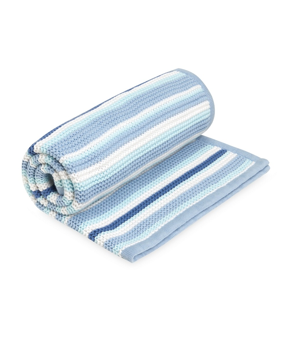 caea0811a1 mothercare blue stripe knitted blanket. Double tap to Zoom