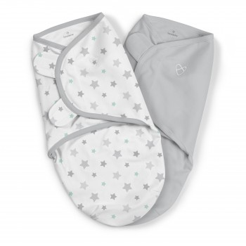 Summer Infant Конверт на липучке Summer Infant Swaddleme, 2 шт., размер S M, Stary Skies