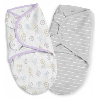 Summer Infant Конверт на липучке Summer Infant SwaddleMe Organic Day Dreamer, S/M, 2 шт., сиреневый