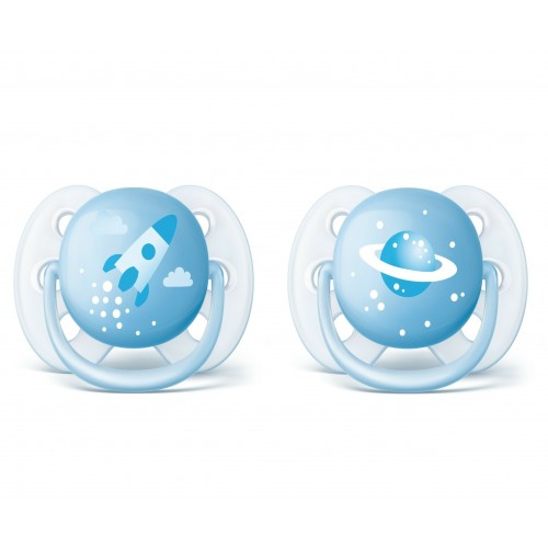 Пустышки Philips Avent ultra soft 0-6 мес, 2 шт., синий